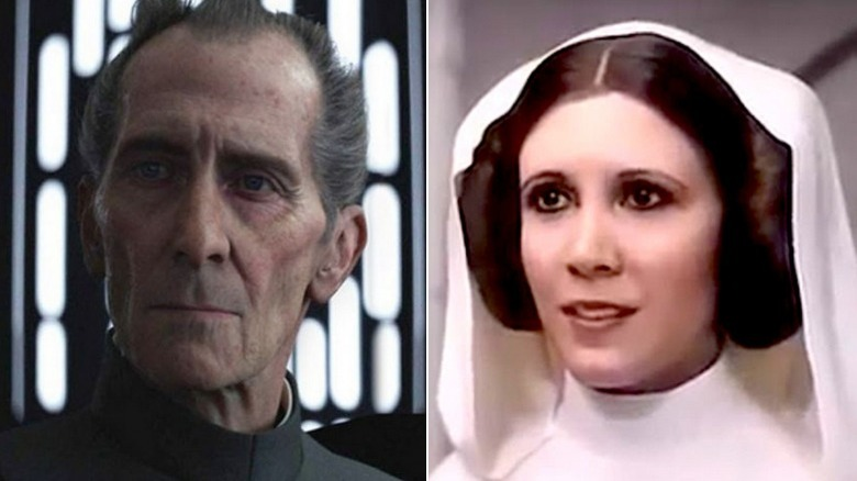 Moff Tarken and Leia Organa in Rogue One