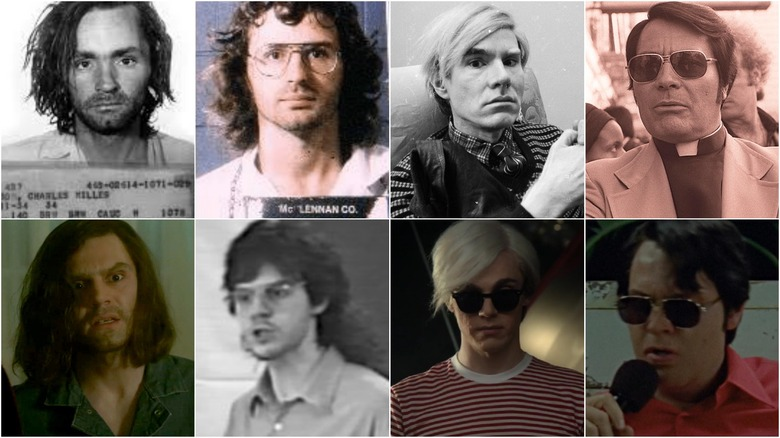 Composite of Evan Peters as Manson, Warhol, Jones and Koresh alongside pictures of the real people