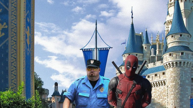 Deadpool escorted out of Disneyland by a security guard