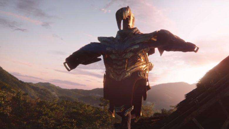 Thanos' armor as a scarecrow in Avengers: Endgame