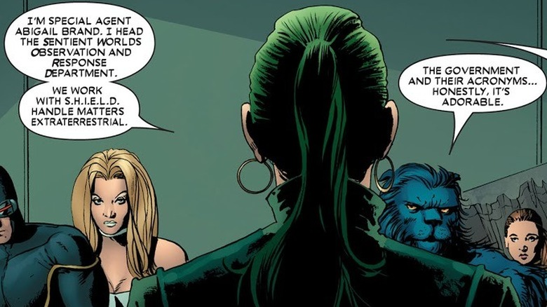 Abigail Brand speaking to X-Men