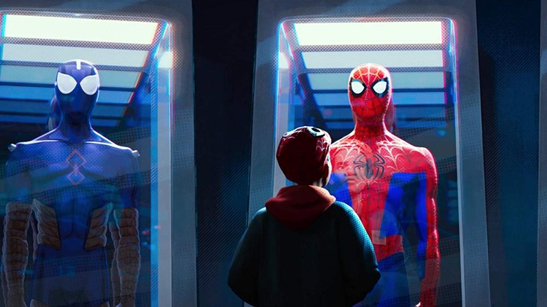 Miles Morales looking at costumes in Spider-Man: Into the Spider Verse