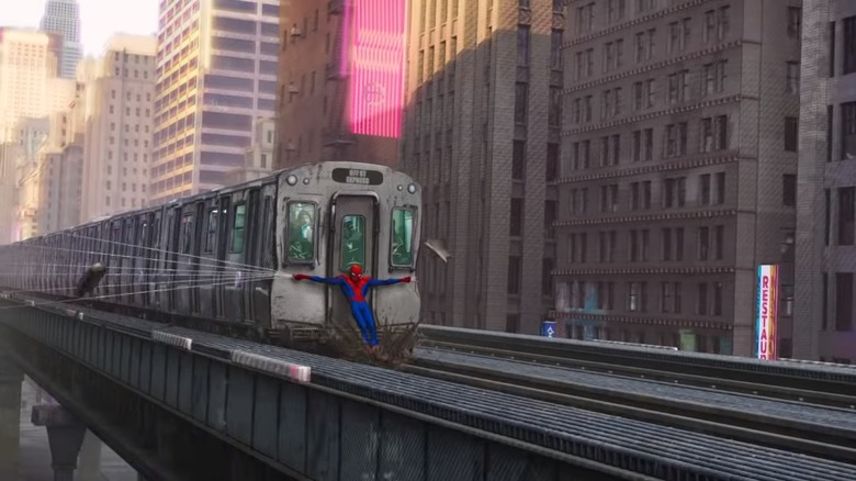 Spider-Man 2 train reference in Spider-Man: Into the Spider Verse