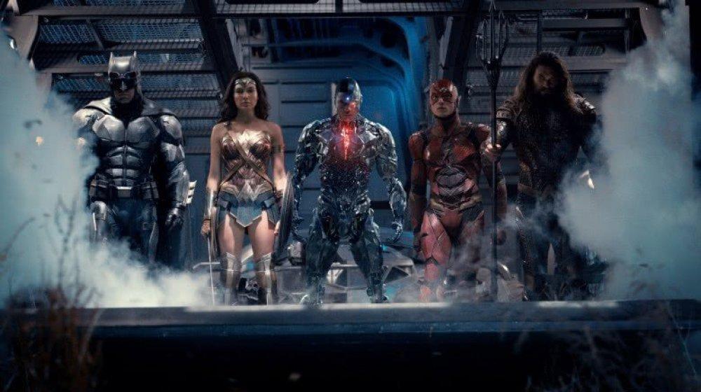 Ben Affleck, Gal Gadot, Ray Fisher, Ezra Miller, and Jason Momoa in Justice League