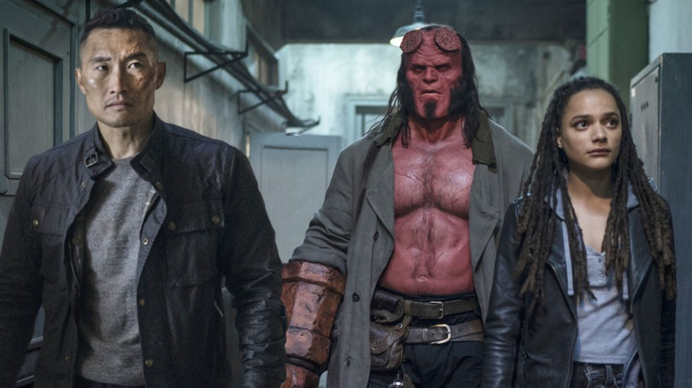 Daniel Dae Kim, David Harbour and Alice Monaghan in Hellboy (2019)