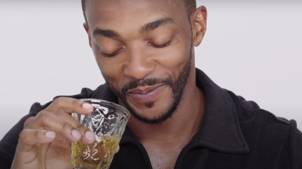 Anthony Mackie with drink