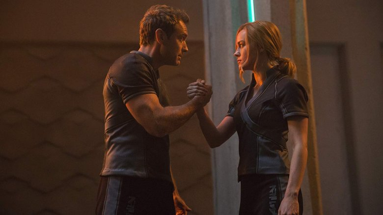 Jude Law as Yon-Rogg and Brie Larson as Carol Danvers/Captain Marvel