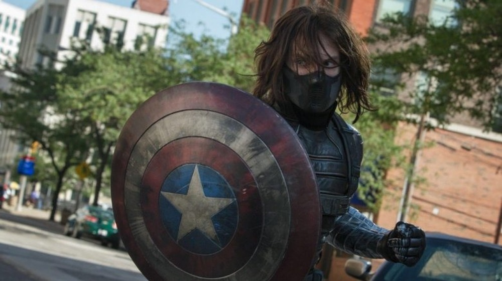 Winter Soldier masked Captain America shield