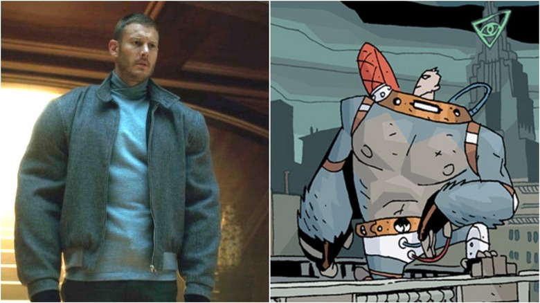 "Tom Hopper as Luther in ""The Umbrella Academy"" series / Luther by Gabriel Ba in ""The Umbrella Academy"" comic"