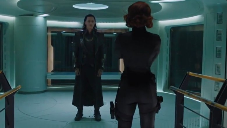 Black Widow interrogating Loki