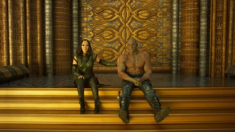 Pom Klementieff and Dave Bautista in Guardians of the Galaxy Vol. 2