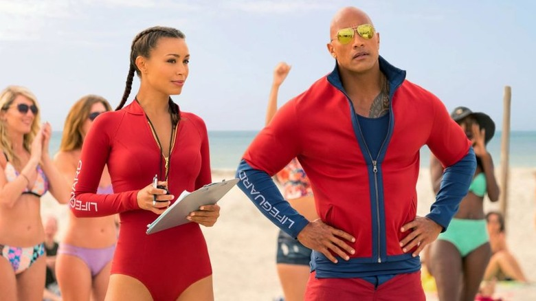 Ilfenesh Hadera and Dwayne Johnson in Baywatch