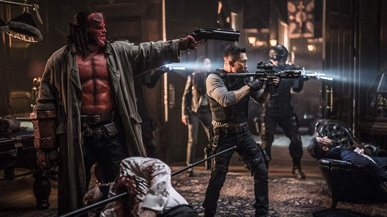 Hellboy and Ben shooting