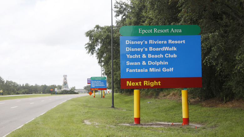 A sign directs drivers to Disney World's Epcot Resort Area