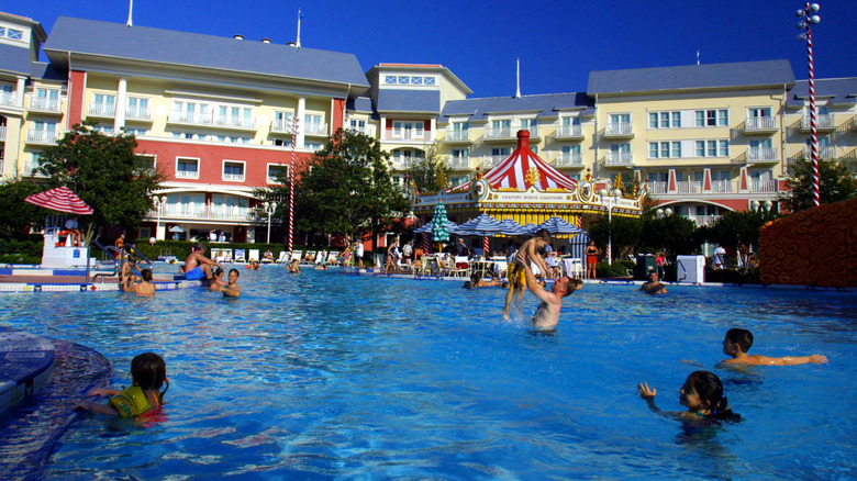 People play in the pool at Walt Disney World's Boardwalk Inn