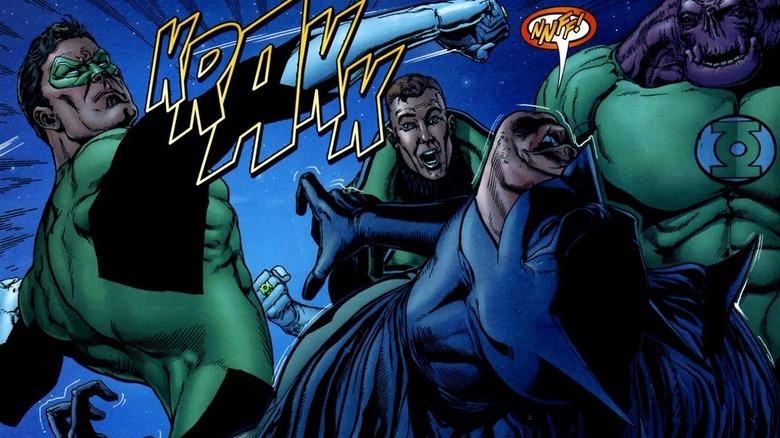 Green Lantern punching Batman