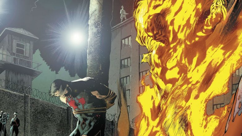 The bodies of Black Condor and the Human Bomb on display in Freedom Fighters #1