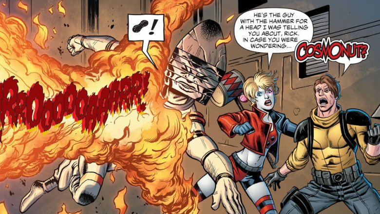 Cosmonut protects Harley Quinn and Rick Flag from a fiery blast in Suicide Squad #50