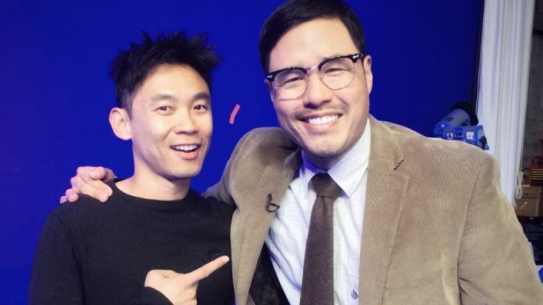 James Wan and Randall Park on the set of Aquaman