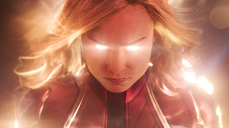 Carol Danvers with glowing eyes