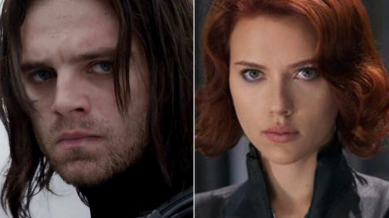 Split image of Bucky and Black Widow