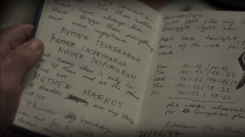 Three Mothers notebook in Suspiria