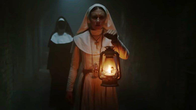 Taissa Farmiga and Bonnie Aarons in The Nun
