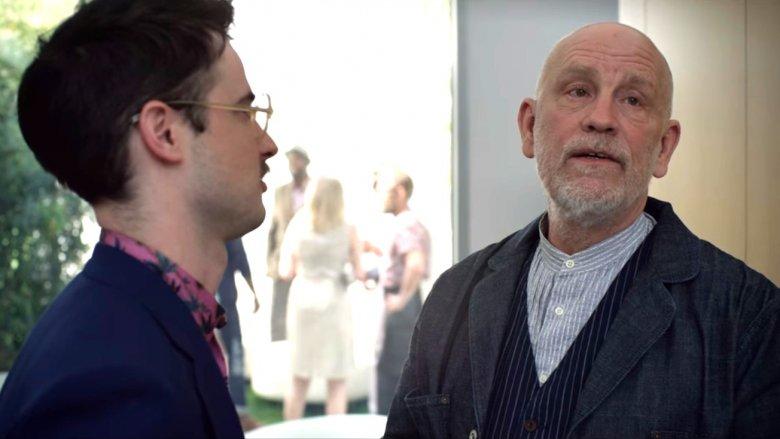 John Malkovich as Piers and Tom Sturridge as Jon Dondon in Velvet Buzzsaw