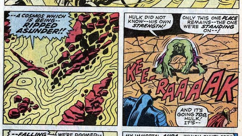 Hulk destroying Night-Crawler's dimension in 1970's Incredible Hulk #126