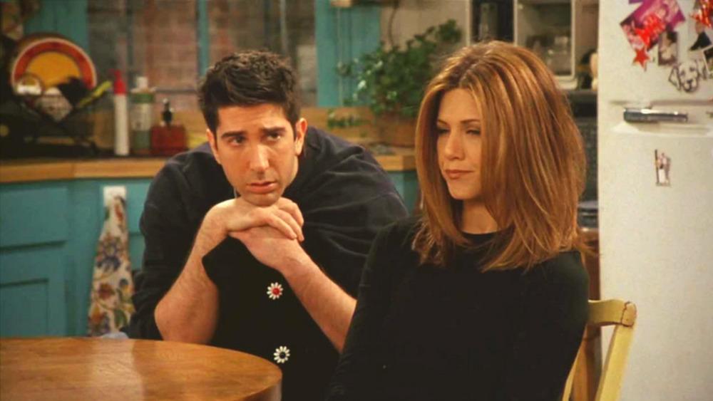 David Schwimmer as Ross Geller and Jennifer Aniston as Rachel Green on Friends