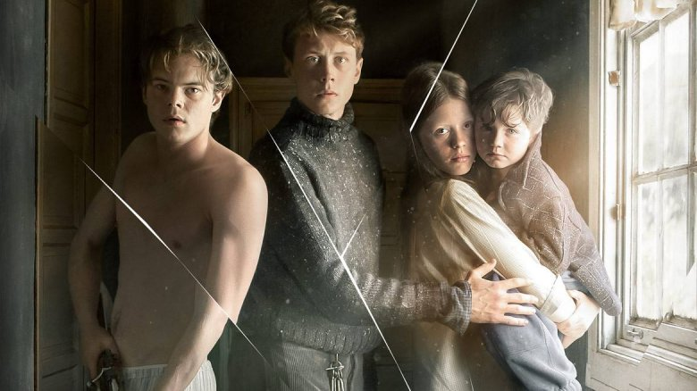 George MacKay, Charlie Heaton, Mia Goth, and Matthew Stagg in Marrowbone
