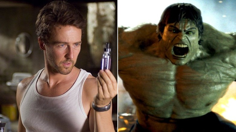 Split image of Ed Norton as Bruce Banner and the digital Hulk from Incredible Hulk