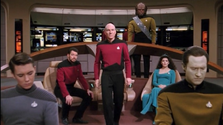 The cast of Star Trek: The Next Generation in clip from Yesterday's Enterprise