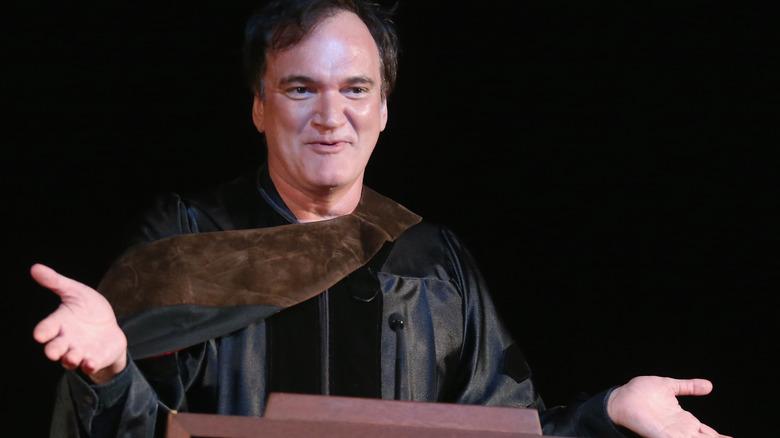 Quentin Tarantino speaking to crowd