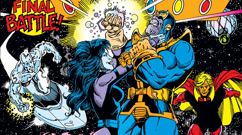 Silver Surfer, Nebula, Thanos, and Adam Warlock