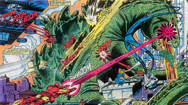 Godzilla under attack from SHIELD, the Avengers and the Fantastic Four