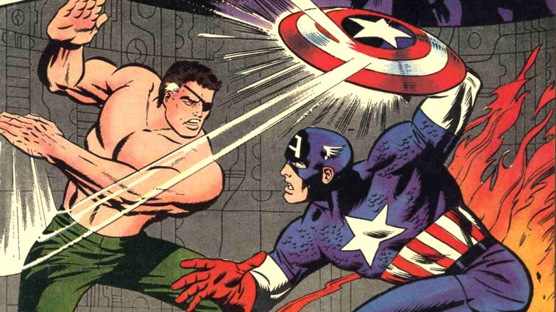 Nick Fury fighting Captain America