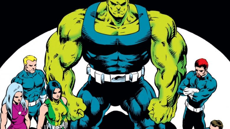 Hulk with the Pantheon on the cover of 1994's Incredible Hulk #424