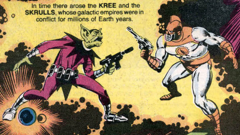 An image from the comics of Kree and Skrulls at war
