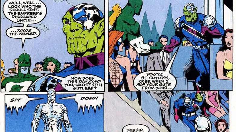 Talos arguing with a Kree in Incredible Hulk #418