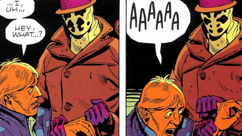 From Watchmen #1 -- Rorschach breaking a man's finger for information