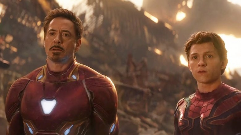 Robert Downey Jr. and Tom Holland in Avengers: Infinity War