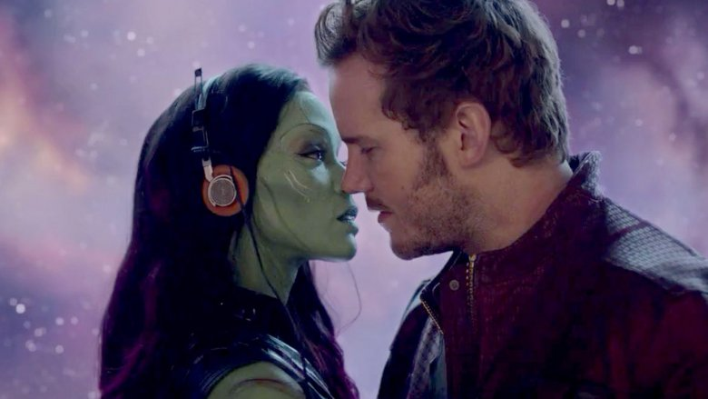 Zoe Saldana and Chris Pratt in Guardians of the Galaxy