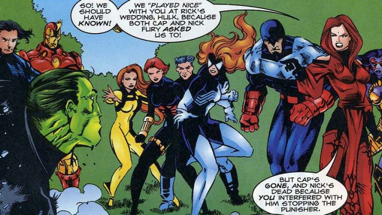 The Avengers confronting the Hulk at Nick Fury's funeral in Incredible Hulk #434