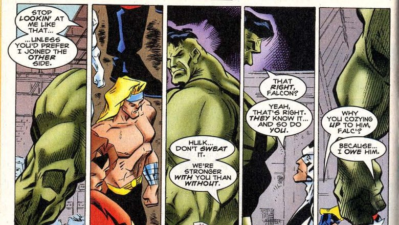 The Avengers giving Hulk the cold shoulder in Incredible Hulk #445