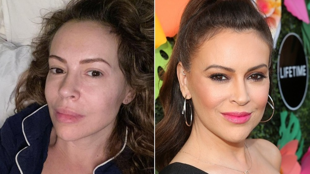 Alyssa Milano without and with makeup