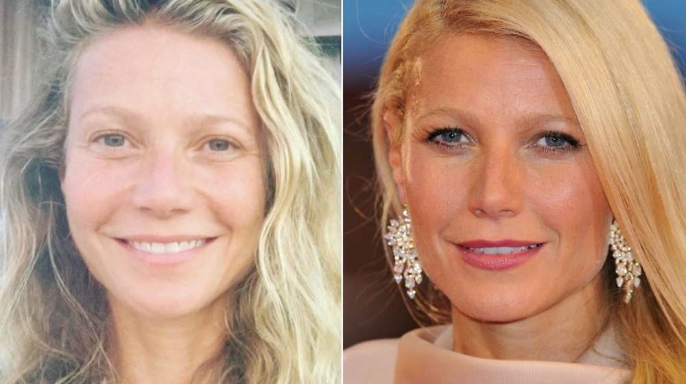 Gwyneth Paltrow without and with makeup
