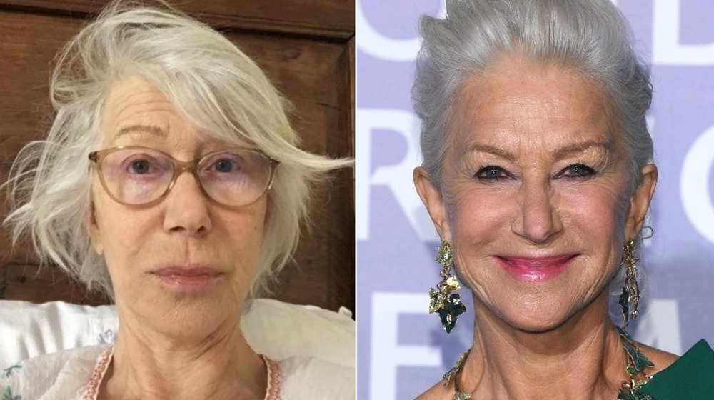 Helen Mirren without and with makeup