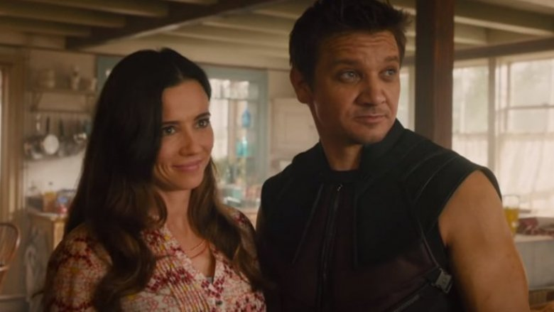 Linda Cardellini and Jeremy Renner in Avengers: Age of Ultron