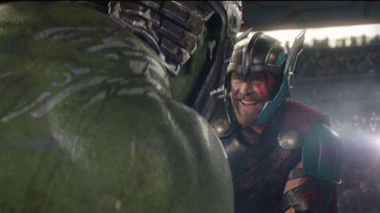 Thor and Hulk lovingly duking it out